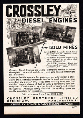1937 Crossley Diesel Engines for Gold Mines print ad