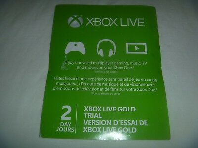 Microsoft Xbox 360 & One Live 2 Day Subscription Card Gold Trial 48 Hours