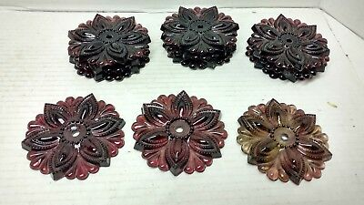 """12 Vintage 3"""" Ruby Red GLASS ROSETTES - Curtain Holdback Door Knob Lamp"""