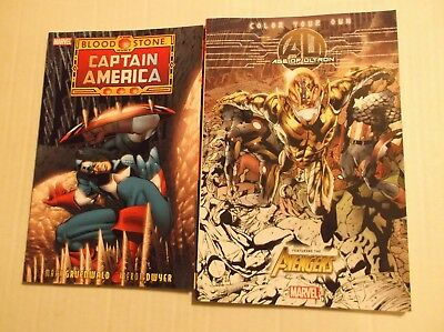 Captain America:  The Bloodstone Hunt + Age Of Ultron Coloring Book Lot