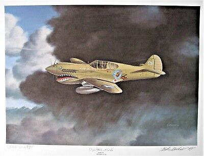 'Tiger with a Tale [P-40] Artist Proof Print signed Mike Machat Pilot Bob Scott