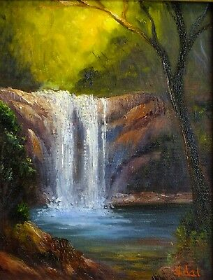 Original landscape oil painting of waterfall 2 by Chris Vidal