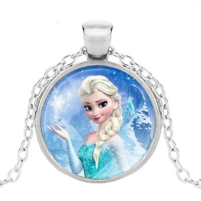 NEW Girls Frozen Elsa Silver Plated Round Cabochon Necklace - Great Gift