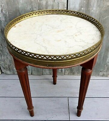 Vintage French Louis XVI Small Round Marble Top Side Table Brass Gallery 1940