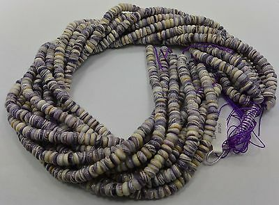 Authentic Wampum Shell  Beads 8 MM Rondelle  (16 Inch Strand) American Quahog