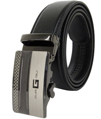 Men Genuine Leather Milan Italy Style Automatic Ratchet Click Lock Buckle Belt