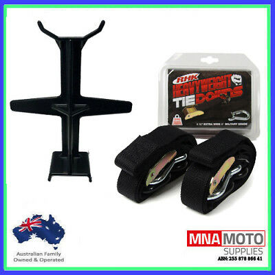 Rhk Heavyweight Ultra Wide Motorcycle Mx Tie Downs - Black + Brace Combo Black