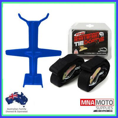 Rhk Heavyweight Ultra Wide Motorcycle Mx Tie Downs - Black + Brace Combo Blue