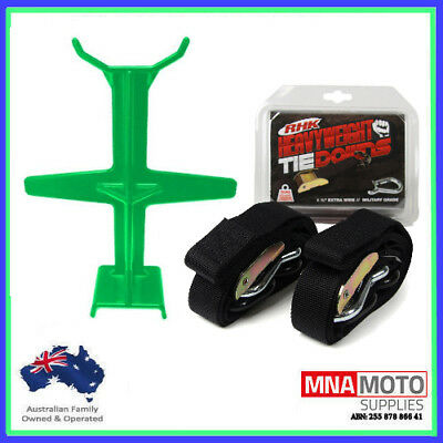 Rhk Heavyweight Ultra Wide Motorcycle Mx Tie Downs - Black + Brace Combo Green