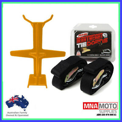 Rhk Heavyweight Ultra Wide Motorcycle Mx Tie Downs - Black + Brace Combo Orange