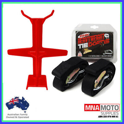 Rhk Heavyweight Ultra Wide Motorcycle Mx Tie Downs - Black + Brace Combo Red