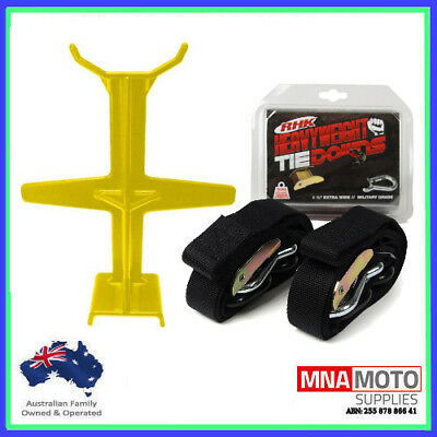 Rhk Heavyweight Ultra Wide Motorcycle Mx Tie Downs - Black + Brace Combo Yellow