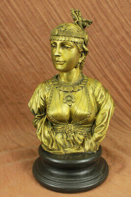 Hand Made bronze sculpture Bust Female Cordier By Caire Lady Egyptian UG