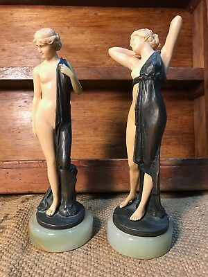 Pair of Gorgeous Antique Vintage Bronze Naked Maidens on Alabaster Bases