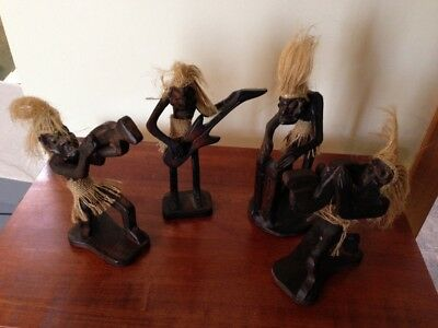 Figure Hand Carved Wood Band Musicians Sculptures/Figurines/Statues x 4