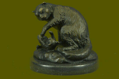 Hand Made Hot Painted Bronze BEAR WITH CUB POT SCULPTURE MINIATURE BUY NOW