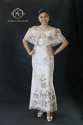 FILIPINIANA Dress Hand-painted and Embroidered Maria Clara Off-Shoulder Gown