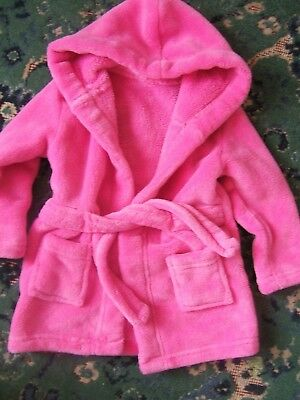 New EARLY DAYS Bright Pink Hooded Dressing Gown 6-12 Months
