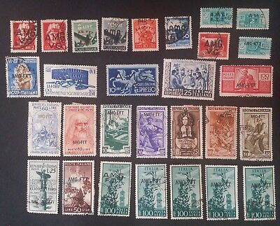 RARE 1947- Trieste Zone A lot of 30 Italian stamps A.M.G.T.T. O/Ps Mint & Used