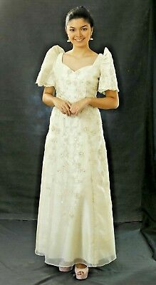 FILIPINIANA DRESS Embroidered Mestiza Maria Clara Gown Tagalog Pieces Cut- Beige