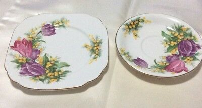 "Queen Anne "" TulipTime""Plate/Saucer Tulips And wattle Fine Bone China England"
