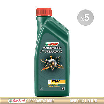 Castrol Magnatec Professional A5 5w-30 Fully Synthetic Engine Oil - 5 x 1 Litres