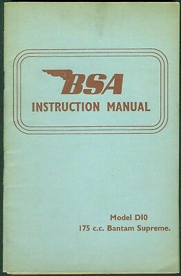 175 cc BSA Bantam D10 Supreme Instruction Manual Original book Unused