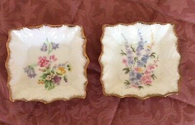 2 Pretty Gold Edged Queen Anne U.K. Bone China Pin Dishes