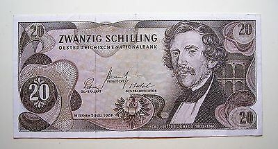 Austria... WIEN.AM2-3 JULI 1967 ... 20 Shilling Bank Note...Good used note, aUNC