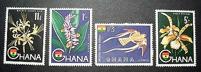 Ghana 11d 1/- 1/3 5/- Great MH Stamps, Flowers Very Nice