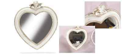 Mirror wooden antique heart-shaped with angel to hang