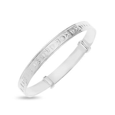 Solid 925 Fine Silver Sterling Adjustable Babys Christening Gift Bangle Bracelet