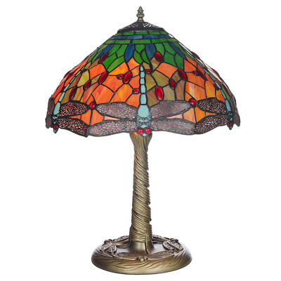 """16"""" Mitcham Hand Crafted Tiffany Table Lamp With Stained Glass Dragonfly Shade"""