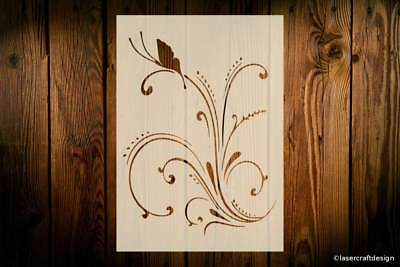 Butterfly Flourish Stencil, Various Sizes Reusable Art Crafts Wall Furniture DIY