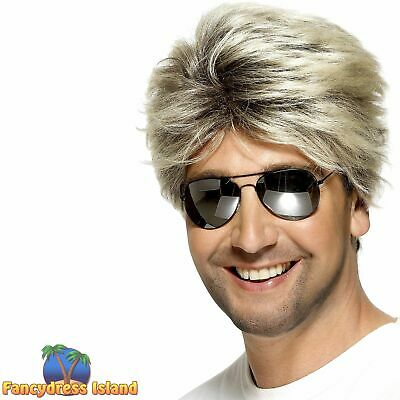 80's Street Wig Retro Blonde George Michael Wham! Men's Fancy Dress Costume