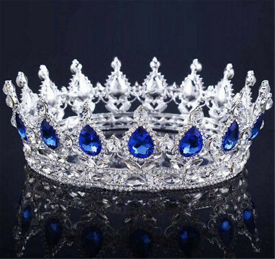 Blue  Vintage Baroque Queen King Bride Tiara Crown Headdress Prom Bridal Jewelry