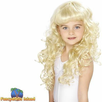 Princess Curly Blonde Fairy Wig Kids Childs Girls Fancy Dress Costume Accessory