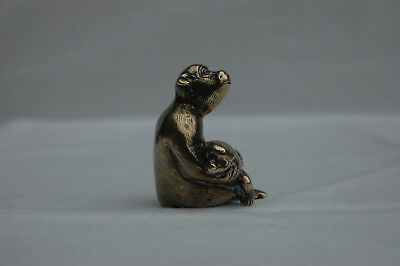 Antique Chinese Brass Monkey Holding Baby Scroll Weight Bronze Japanese Figurine