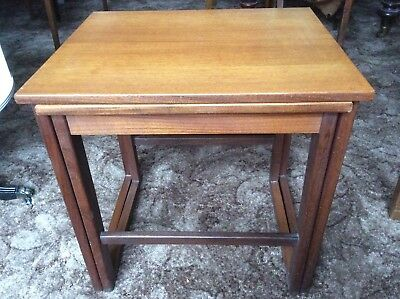 SET OF TWO COFFEE TABLES RETRO TEAK FURNITURE FROM THE 1960's VERY ELEGANT
