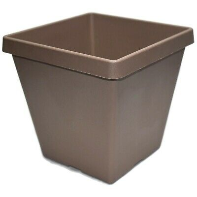"7.5"" TAN SERENE SQUARE PLASTIC PLANTERS - Set of 5 - pots flower planter beige"