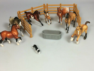 Breyer Horse toy Lot of 7 dog Fencing trough cake toppers