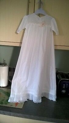 Beautiful Vintage 32 inch Long Baby Christening Gown  0/6 months ? flowers lace