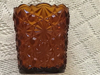 Vintage Rare & Beautiful Mosser Glass Amber Daisy Button Glass Toothpick Holder