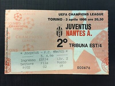 Biglietto Stadio Ticket Juventus-Nantes Champions League 1995/'96