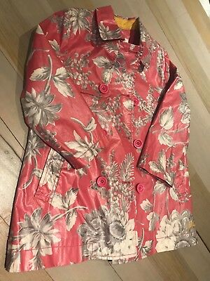 Little Joule Floral Pink Raincoat without hood Age 5 Years Great Condition