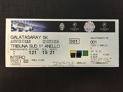 Biglietto Stadio Ticket Juventus-Galatasaray Champions League 2013/'14