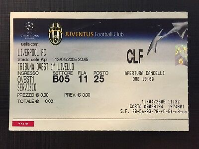 Biglietto Stadio Ticket Juventus-Liverpool Champions League 2004/'05