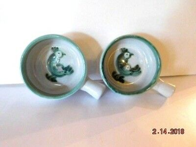 """Lot of 2 M. A. Hadley Covered Handled 4"""" Soup Bowls with Rooster"""