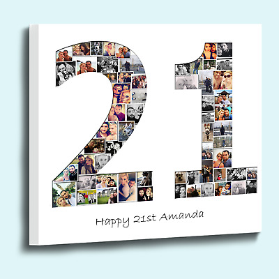 Personalised number shape photo collage box framed canvas print stencil style