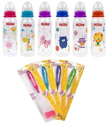 Nuby Baby Feeding Bottle Toddler Milk Bottle & Teat Brush Anti Colic BPA Free 0+